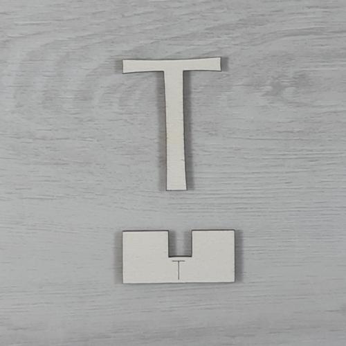 T' betű, illesztősablonnal - 3 cm, natúr