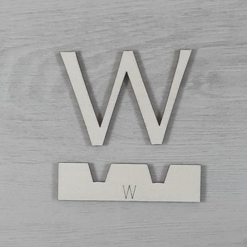 W' betű, illesztősablonnal - 3 cm, natúr