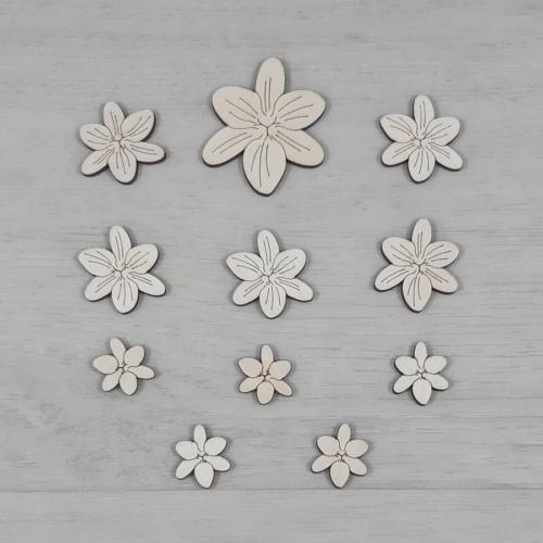 Frézia virág dekor csomag - 11 db-os, natúr