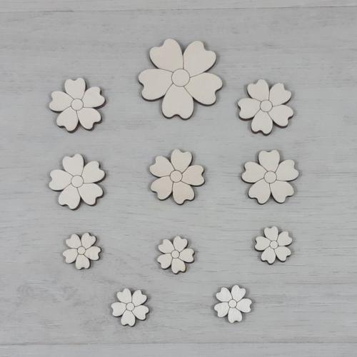 Kankalin virág dekor csomag - 11 db-os, natúr