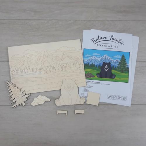Fekete medve - Nature Painter kifestő csomag, 30x20cm