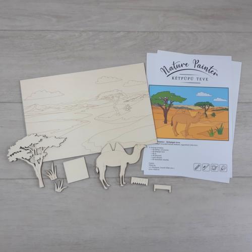 Kétpúpú teve - Nature Painter kifestő csomag, 30x20cm