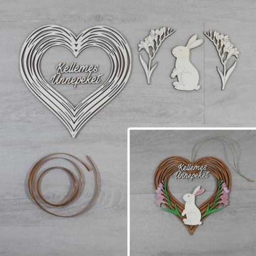 Nyuszis ajtódísz kreatív csomag - szív, 19,5x20cm, natúr