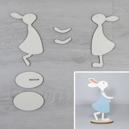 Nyuszi lány kreatív csomag - kicsi, talpas, 7,9x15,3cm, natúr