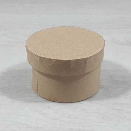 Papír doboz tetővel - kerek, 8cm, 5cm magas, natúr