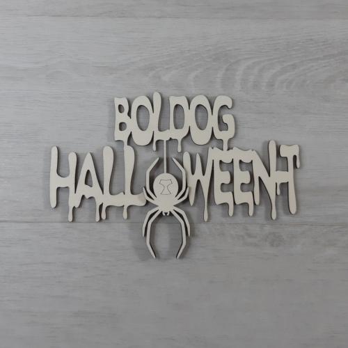 Boldog Halloween-t felirat, pókos - 'Ghost', 21cm, natúr