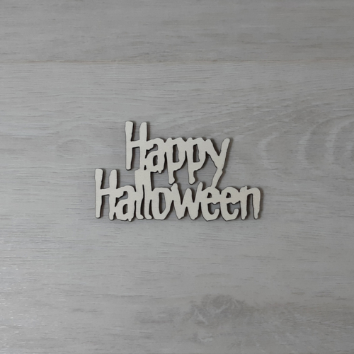 Happy Halloween felirat - 2 soros, 'Monster', 10cm, natúr