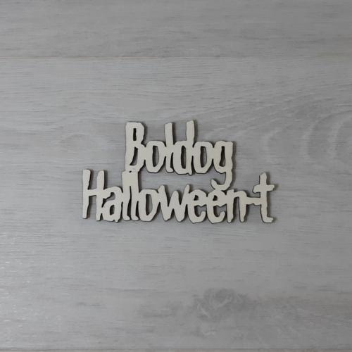 Boldog Halloween-t felirat - 2 soros, 'Monster', 10cm, natúr