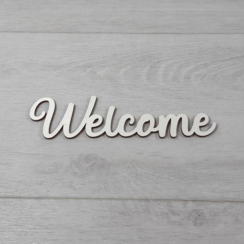 Welcome felirat - 'Molly' betűtípussal, 15cm széles, natúr