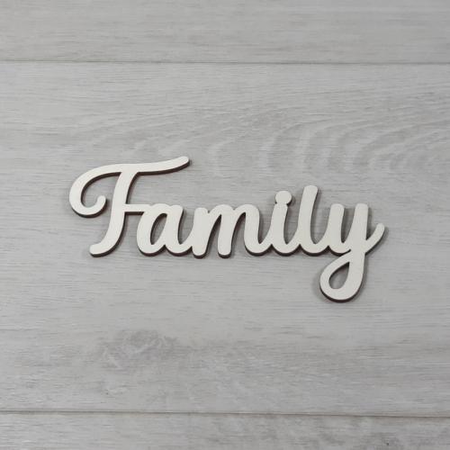 Family felirat - 'Molly' betűtípussal, 12cm széles, natúr