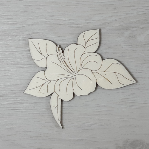 Hibiszkusz levéllel, 1 virágos - 10cm, natúr