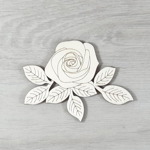Rózsa levéllel, 1 virágos - 10cm, natúr