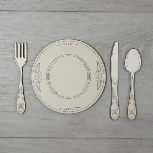Evőeszköz készlet tányérral - 7,5cm, natúr