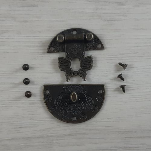 Zár, kerek, díszes, csavarokkal - antik, 39mm, 1 szett/csomag