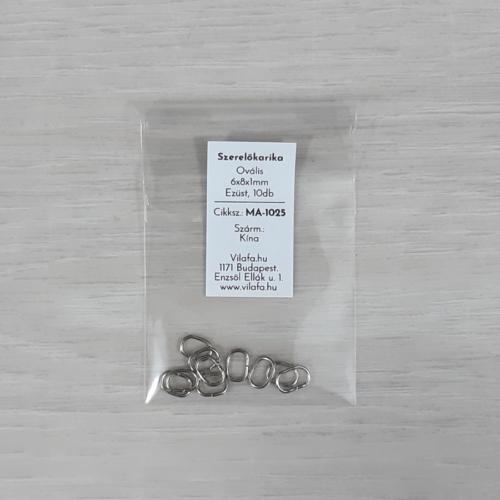 Szerelőkarika, ovális - ezüst, 6x8x1mm, 10db