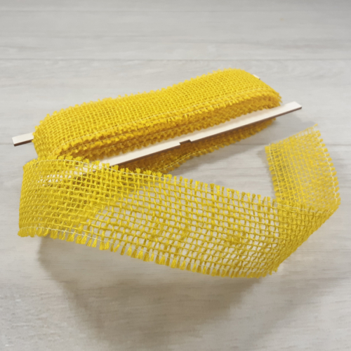 Juta szalag - 5cm-es, sárga