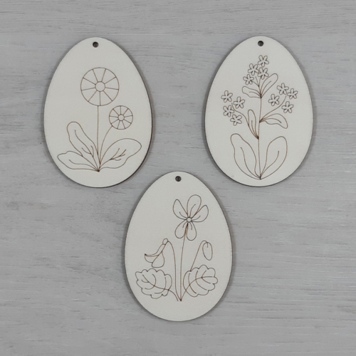 Tojás csomag, virágmintás 3 - 3 féle, 8cm, natúr