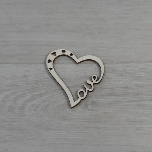 Áttört Love szív - 5cm, natúr